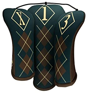 Golf Head Cover Set by BeeJo Dashing Argyle Print by BeeJo