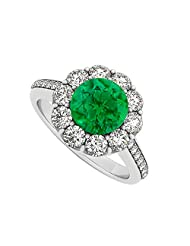 925 Sterling Silver May Birthstone Emerald And Cubic Zirconia Halo Engagement Ring