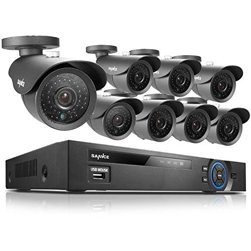 SANNCE® Kit DVR 8 Canali HD 960H/D1 Completo 8 Telecamere Videosorveglianza 800TVL IR CCTV ...