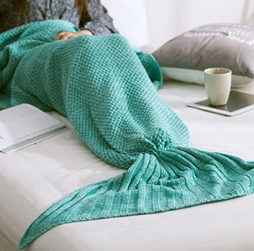 YKALF Home Decor Christmas gift for Handcrafted All Seasons Soft Warm Knitted Mermaid Tail Blanket Living Room Sleeping Bag for Adults / Kids ,Assorted Size (57″28″, Thin-Mint Green)