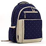 Mariego Stylish Diaper Bag Backpack (Blue With Dots)