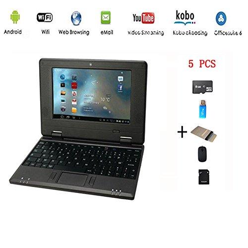 Anitech®Netbook ordinateur portable Ultrabook Android 4.2 HDMI(Wifi-SD-MMC),Sac d'ordinateur portable+Souris +Adapter +carte SD+lecteur de carte(5 PCS Accessoires) (7 inches, Noir)