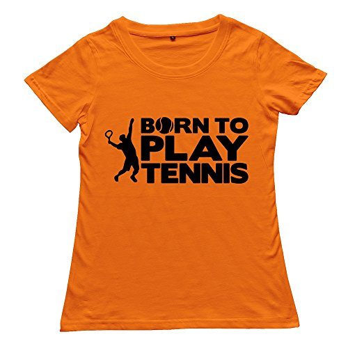 Girl Born Play Tennis New Custom Hot Orange T-Shirt By Rrg2G X-Large