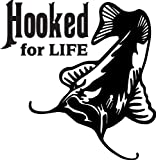 6 wide HOOKED FOR LIFE with catfish. Black die cut vinyl decal sticker for any smooth surface such as windows bumpers laptops or any smooth surface.
