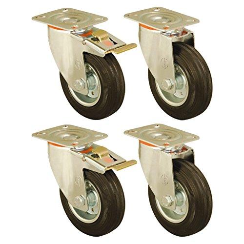 Set of 4 - 150mm Rubber Wheel Castors plate fitting Casters Heavy Duty