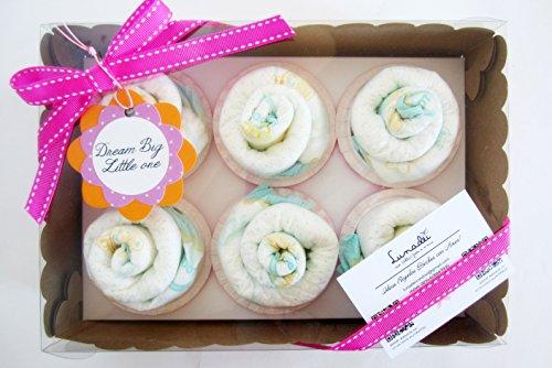 Scatola di Cupcakes fatti con Pannolini DODOT | Baby Shower Gift Idea | Scatola Regalo Personalizzabile | Idea Regalo Originale per Bebé | Versione per Femminucce