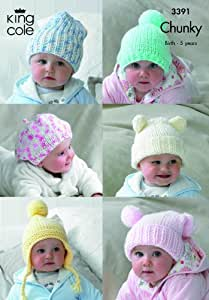 King Cole 6 Baby Hats Comfort Chunky Knitting Pattern 3391