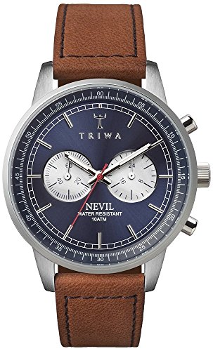 Triwa Nevil Bleu en acier hommes de montre chronographe bracelet en cuir marron avec coutures Bleu nest108sc010216