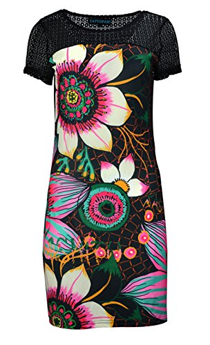 Women's short sleeved dress with multicolored flower pattern print-(Blk-141029-L)