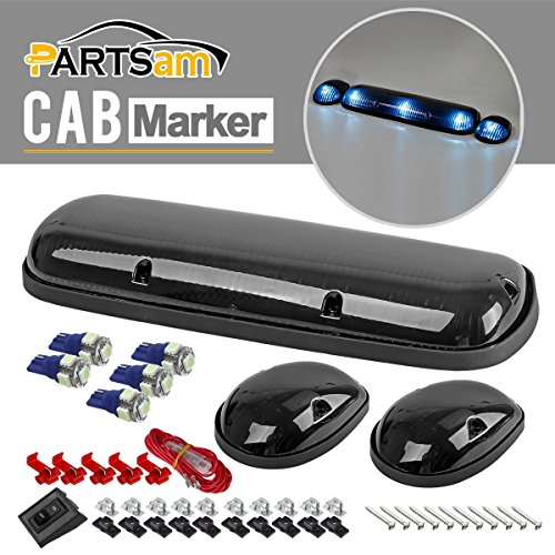 Partsam 3xSmoke Cab Roof Top Clearance Lights+161 5050 Ice Blue LEDs for 2002-2007 Chevy/GMC (06 Gmc Sierra Cab Roof Lights compare prices)