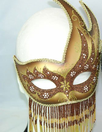 Venetian Mask Gold Beaded Party Mask Mardi Gras Mask