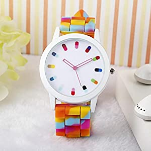 Women Ladies Clourful Dots Silicone Unisex Unisex Quartz Watch JJC001-Color Mix