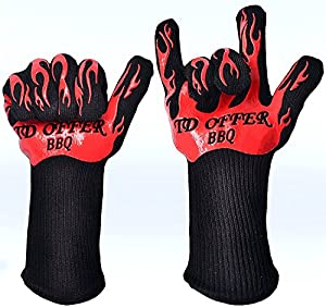 Best Kitchen Gloves Heat Resistant 666¡ãF Premium Insulated Grilling Gloves for Cooking& Outdoors,smoker,fireplace Pot Holders, Oven Mitts and BBQ Gloves Camping with Cotton Lining and Silicone1 Pair