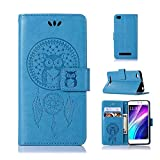 Case for Xiaomi Redmi 4A, Abtory Owl Campanula Embossing Flip PU Leather Fold Wallet Pouch Stand Magnetic Protective Phone Case Cover for Xiaomi Redmi 4A Blue (Color: Redmi 4a-07)