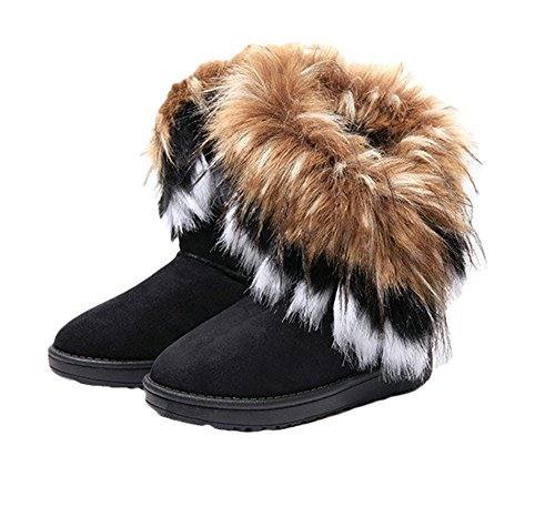 King-Ma-Womens-Faux-Fur-Tassel-Winter-Snow-Boot-Suede-Flat-Ankle-Boots