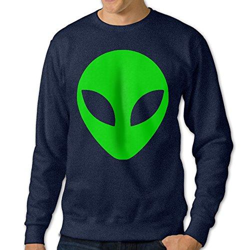 U9 Men's Green Alien Head Cartoon Crewneck Sweatshirt (Polaroid Coffee Cup compare prices)