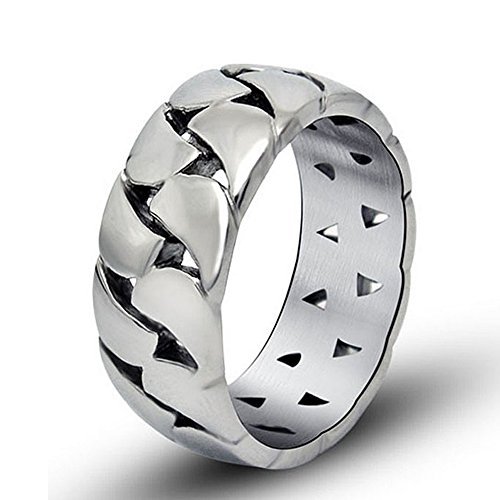Chryssa Youree Men's Simple Glossy Hollow Chain Gift Titanium Steel Jewelry Wedding Band Ring 8 to 10(DJZ-10) (Size 10)
