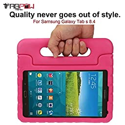 Galaxy Tab S 8.4 Case, TabPow [Kids Case] - [Shockproof][Drop Protection][Heavy Duty] Kids Children EVA Case Cover with Carrying Handle Stand For Samsung Galaxy Tab S 8.4 (Hot Pink)