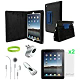 Ionic Blue Leather Case Cover with Charger and Screen Protector for Apple iPad 2, iPad 3, iPad 4, iPad 2nd, iPad 3rd, iPad 4th Generation AT&T Verizon 4G LTE (7-item) ~ CrazyOnDigital