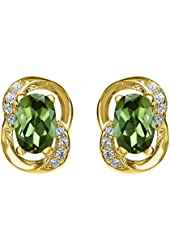 1.01 Ct Oval Green Tourmaline 18K Yellow Gold Plated Silver Earrings