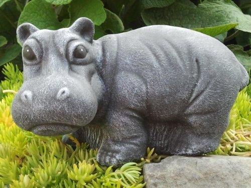 Garden ornament Hippo standing, Cast stone, Slate gray