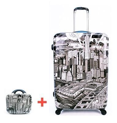 Heys USA - 2pcs. - SET 50 GBP Discount - Fazzino Manhattan, High-quality designer artist luggage set - 76 cm 4-wheels Trolley and Beauty Case by Heys USA