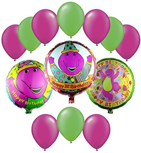 Barney & Friends Birthday Mylar and Latex Balloons Bouquet (13 Pcs)