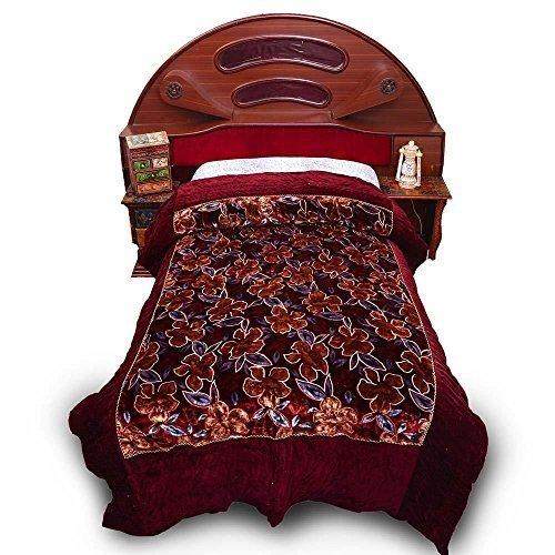 Diseño de flores de estilo Jaipuri Little India cama de funda de edredón para cama individual de terciopelo marrón