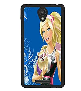 Fuson Premium Girl With Puppy Metal Printed with Hard Plastic Back Case Cover for Xiaomi Redmi 3S