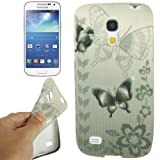 Rocina TPU silicon case cover with butterfly in grey black for Samsung i9190 Galaxy S4 mini