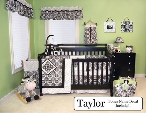 Trend Lab Baby Nursery Bedding Ensemble Set Plus Personalized Name Decal, Versailles Black & White, 4Pc Set front-1005820