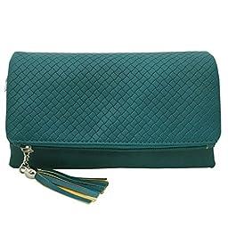 BMC Womens Deep Aqua Textured PU Faux Leather Quilted Pattern Triple Compartment Zipper Tassel Fashion Clutch Handbag