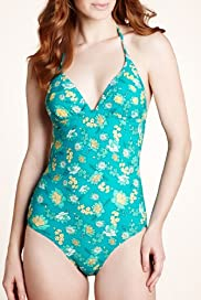 Halterneck Floral Jacquard Padded Swimsuit [T52-1435-S]