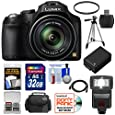 Panasonic Lumix DMC-FZ70 Digital Camera (Black) with 32GB Card + Battery + Case + Flash + Tripod + HDMI Cable + Accessory Kit