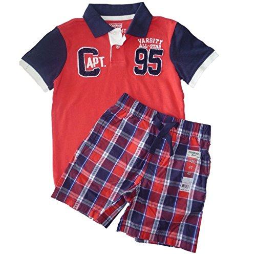 oshkosh-b-gosh-ninos-verano-outfit-polo-camiseta-pantalon-corto-kuze-rojo-azul-dunkelblau-rot-92-cm