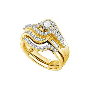 10kt Yellow Gold Womens Natural Diamond Round Bridal Wedding Engagement Ring Band Set (1.00 cttw.)