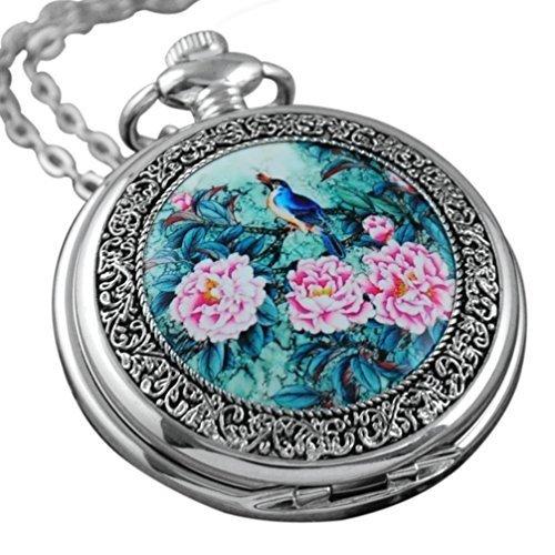 VIGOROSO-Quartz-Beautiful-Peony-Bird-Enamel-Painting-Steampunk-Silver-Pocket-Watch