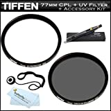 Tiffen 77mm Circular Polarizer Filter + Tiffen 77mm UV Protection Filter For Canon EF 17-40mm f/4L USM Ultra Wide Angle Zoom Lens (8806A002) For Canon DSLR Cameras + LensPen Cleaning Kit + Lens Cap Keeper + Cloth