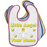 Little Angel Personalised Baby Bib Blue Pink Yellow or White