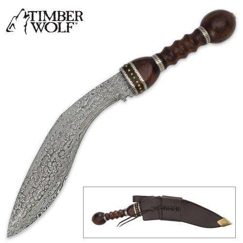 Timber Wolf Damascus Kukri With Leather Sheath