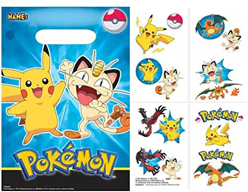 Pokemon Goody Favor Bags with Bonus Tattoos for 8 Guests