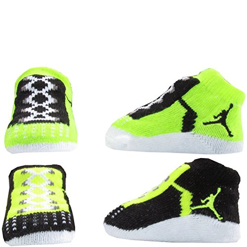 New Nike Jordan Jumpman 23 Baby Booties, Volt Neon Yellow Black, 0-6 Month, 2 Pair.