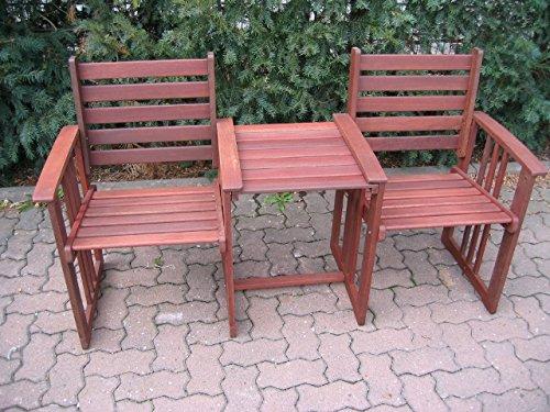 Gartenmöbel Sitzgruppe Gartenbank Balkonbank Sitzbank Terrassenbank Holz Bank Gartenstuhl 2 Stühle mit Tisch aus Hartholz, geölt