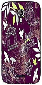 Snoogg birds and bird cages seamless pattern Designer Protective Back Case Cover For Micromax A117