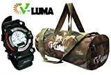 V-Luma Combo of Army Green Gym Bag with Sports Watch VLCOM1025