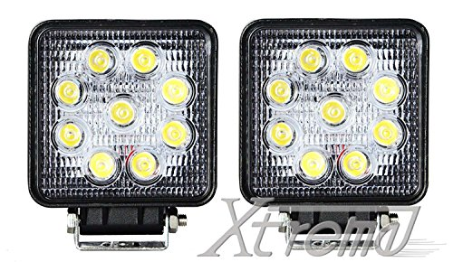 "Xtreme® 4"" Inch 9 Led 27 Watt 4X4 Square Cube Led Work Lamp Light 2160 Lumen Lamp Offroad Light For Truck, 4Wd, Atv, Utv, Polaris Ranger, Jeep, Truck, Tractor, Boat (2 Pack, 27W Square, Spot Light)"