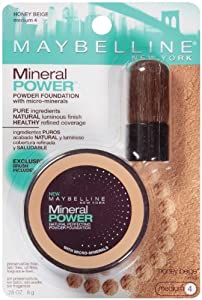Maybelline York Mineral Power Powder Foundation, Honey Beige, Medium 4, 0.28 Ounce