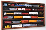 HO Scale Train Display Case Cabinet Wall Rack w/ UV Protection- Lockable -Walnut