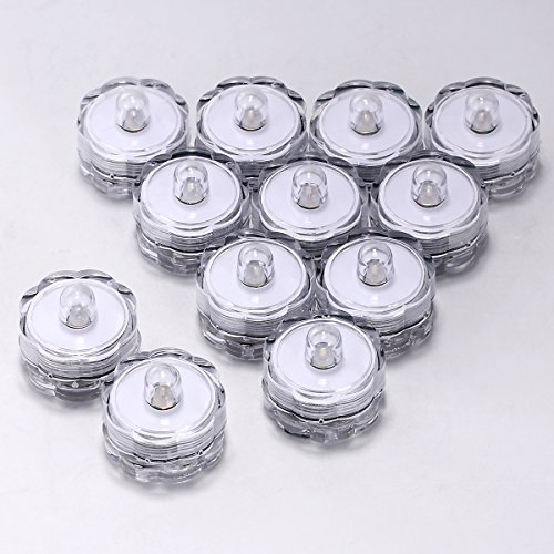 Set of 12 White Submersible Waterproof Underwater Tea Light LEDs Colour Changing Flameless Safety LED Candles for Wedding Centerpieces by Xcellent Global LD040 (Make Your Own Tea Set compare prices)