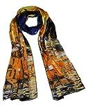 "Dahlia Women's 100% Silk Scarf - Van Gogh ""Cafe Terrace at Night"" - Orange"